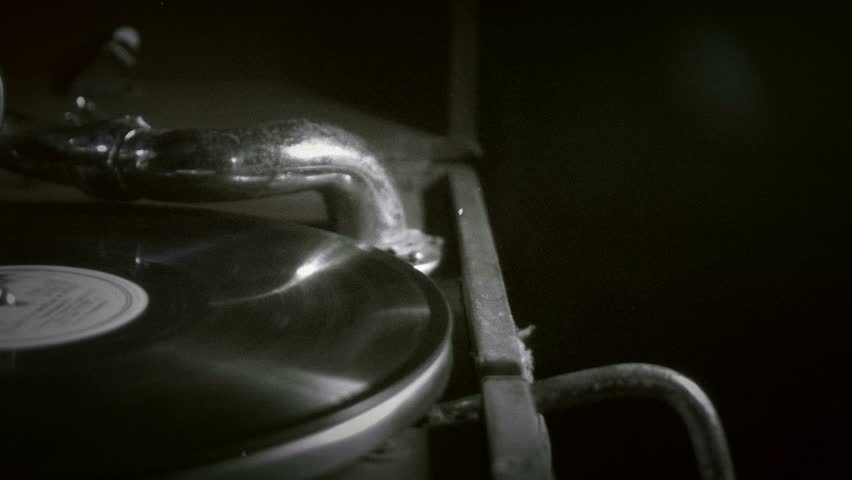 The gramophone, black and white video, retro