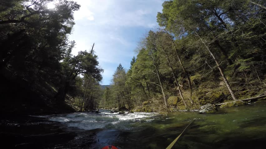 First person view of whitewater kayaker paddling through rapids on Carberry creek in southern Oregon | Shutterstock HD Video #15760324
