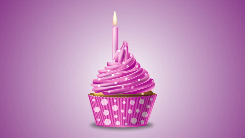 Pink Birthday Cupcake With A Candle And Sparkling Stars
