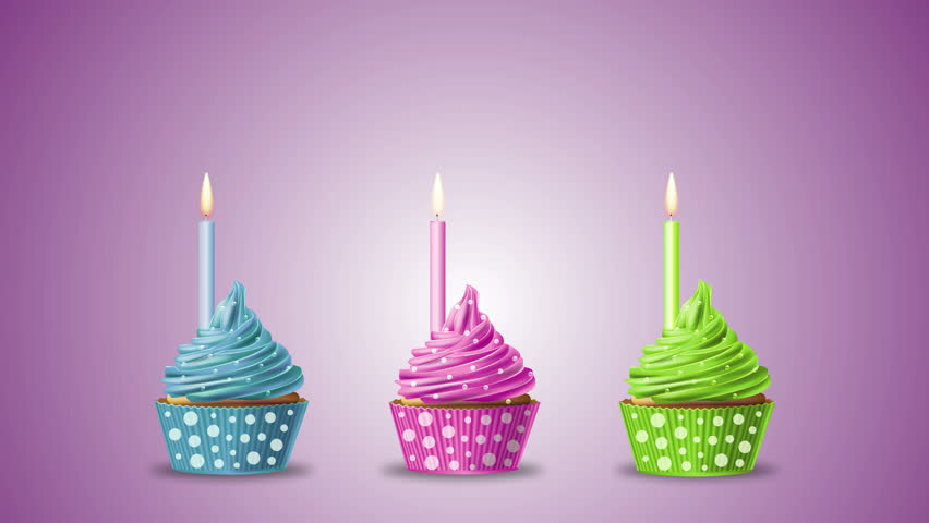 Three Birthday Cupcakes With Candle And Sparkling Stars