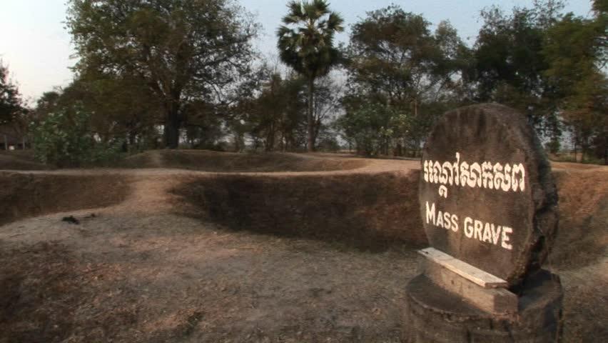 The site of a mass grave in the Killing Fields near Phnom Penh, Cambodia.