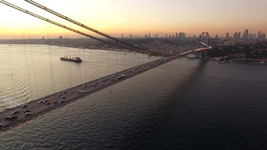 Aerial Shot Istanbul Bosphorus Bridge #15858199