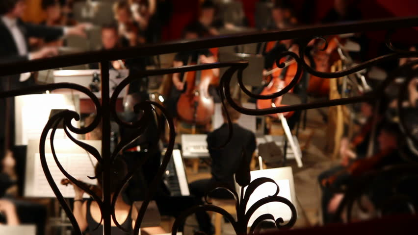 view on orchestra in theatre - HD stock footage clip