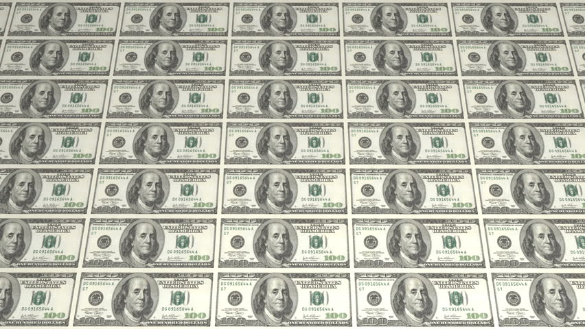 large sheet uncut american 100 dollar bills diminishing into the distance stock footage video. Black Bedroom Furniture Sets. Home Design Ideas