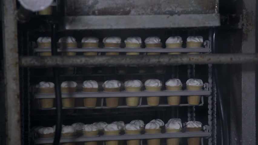 Automatic production line of ice cream - HD stock video clip