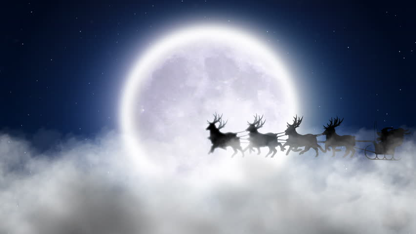 Santa With Reindeer Fly Over Moon  | Shutterstock HD Video #1592929