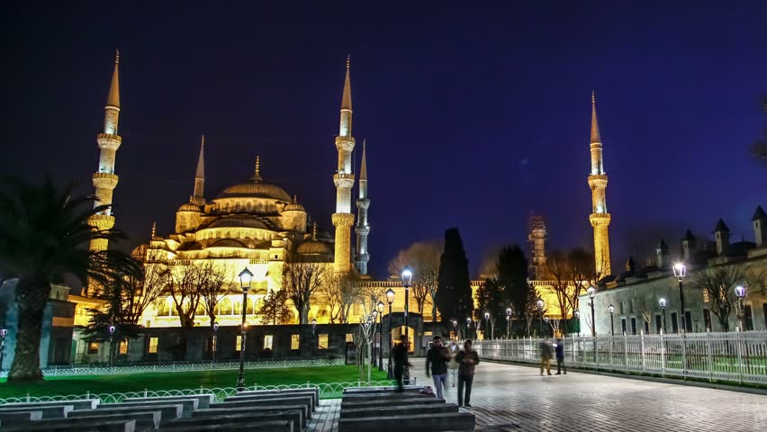 Istanbul, Turkey - March 21, 2016: Sultanahmet (Blue Mosque) at night. Timelapse video. Zoom - 4K stock video clip