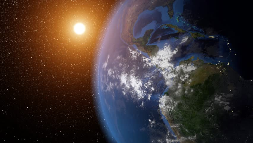 Earth rotation with the Sun. Night and Day.Elements of this image furnished by NASA. Seamless background. - 4K stock video clip