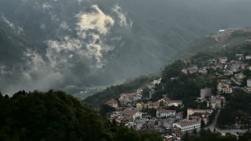 town of Sapa from view point from Hamrong Mt., Lao cai, Vietnam  - HD stock video clip