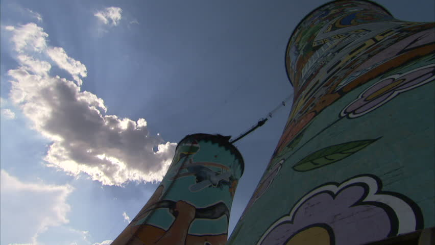 Low angle shot from the bottom of the Orlando Towers in Soweto - HD stock footage clip