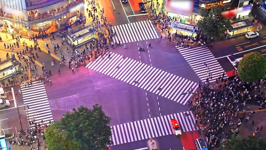 Tokyo's Shibuya pedestrian crossing also known as Shibuya scramble | Shutterstock HD Video #15993712