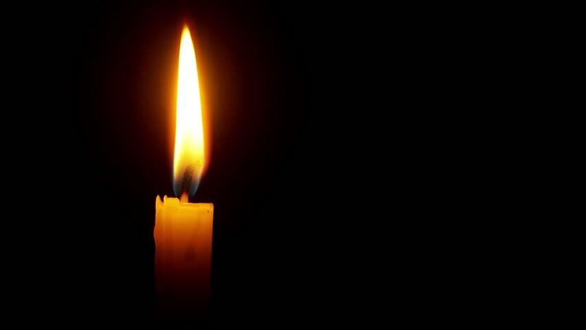 closeup of candle on black