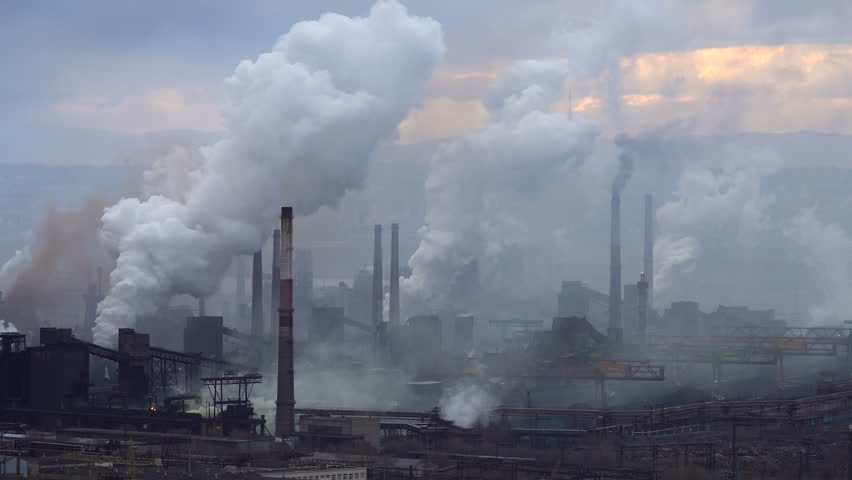 Air Pollution From Industrial Plants. Large Plant on the Background of the City. Pipes Throwing Smoke in the Sky - 4K stock video clip