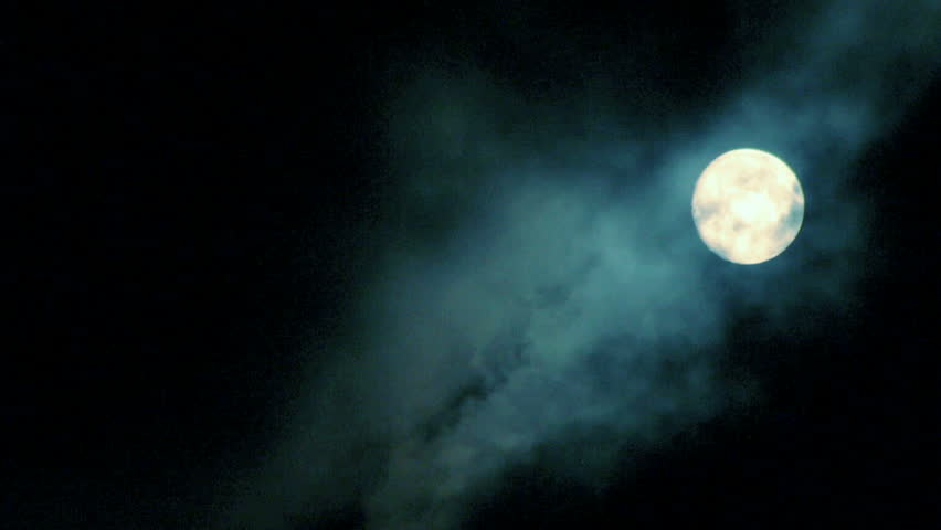 Full moon at dark night with clouds  - HD stock video clip