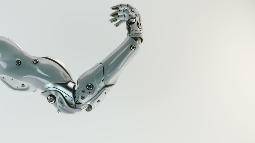Futuristic artificial replacement part - arm, showing its functionality / Robotic stretching arm, 3d render containing mask and depth
