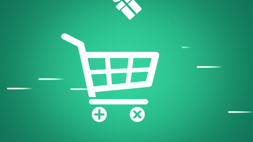 Animation of fast moving basket shop with falling into basket gift boxes and shop bags in drawing style. Animation in stop motion style. Animation of seamless loop. - HD stock video clip