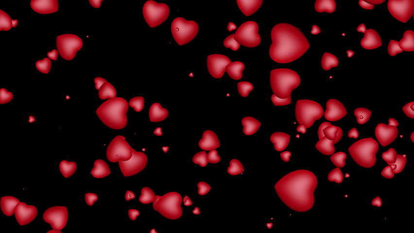 Red Hearts Flying On Black Background Stock Footage Video ...