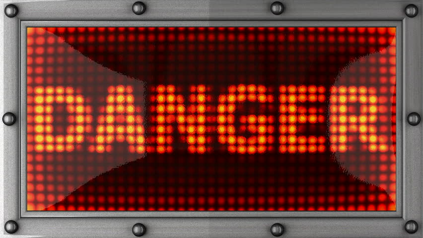 loop danger  announcement on the LED display - HD stock footage clip