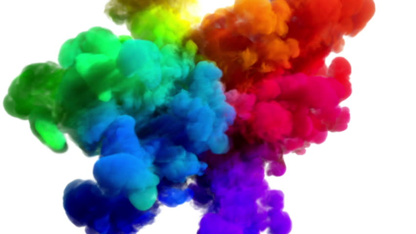 Colored smoke explosion on white