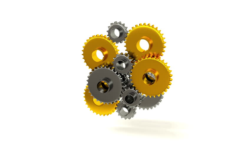 Connecting Gears, 3d render - HD stock video clip