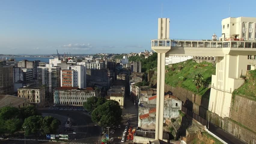 Aerial view of Lacerda Elevator on Pelourinho in Salvador, Brazil | Shutterstock HD Video #16366933