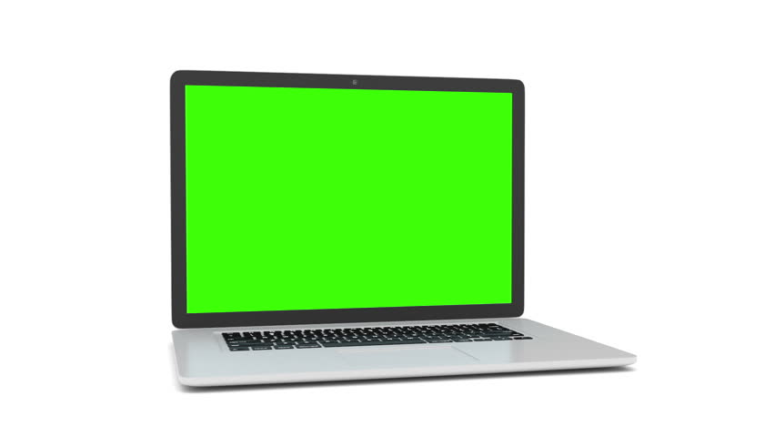 Isolated laptop with green screen on white background. Camera rotating around notebook. Template empty green screen. | Shutterstock HD Video #16377715