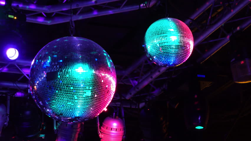 Mirror Ball Rotates Reflecting Light Go Go Girl Dance On