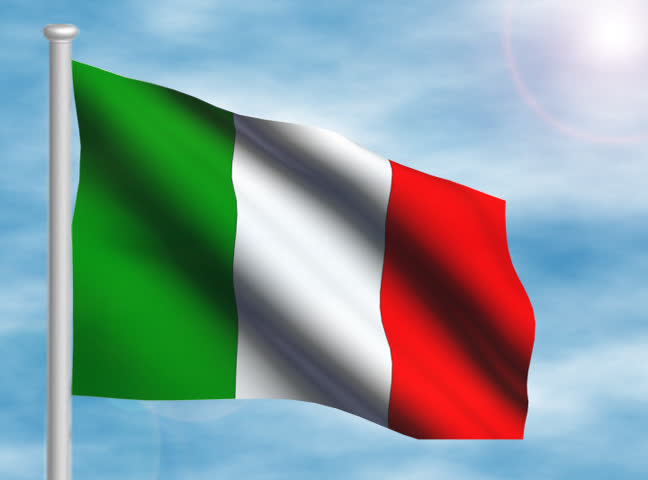 Italy Flag Slider Style. Waving In The Wind With Cloud ...