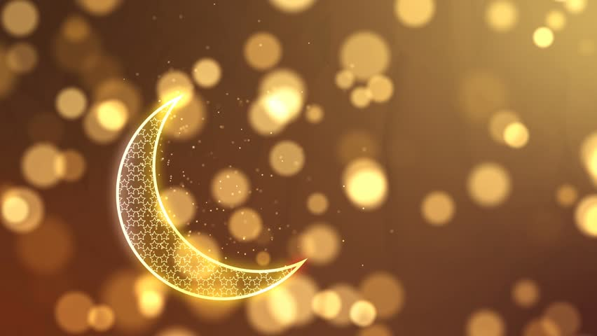Golden crescent and and glowing particles Islamic background.Looped animation.
