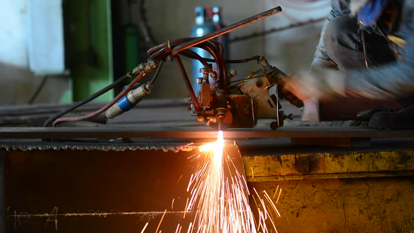 Metal cutting with acetylene torch close-up - HD stock video clip