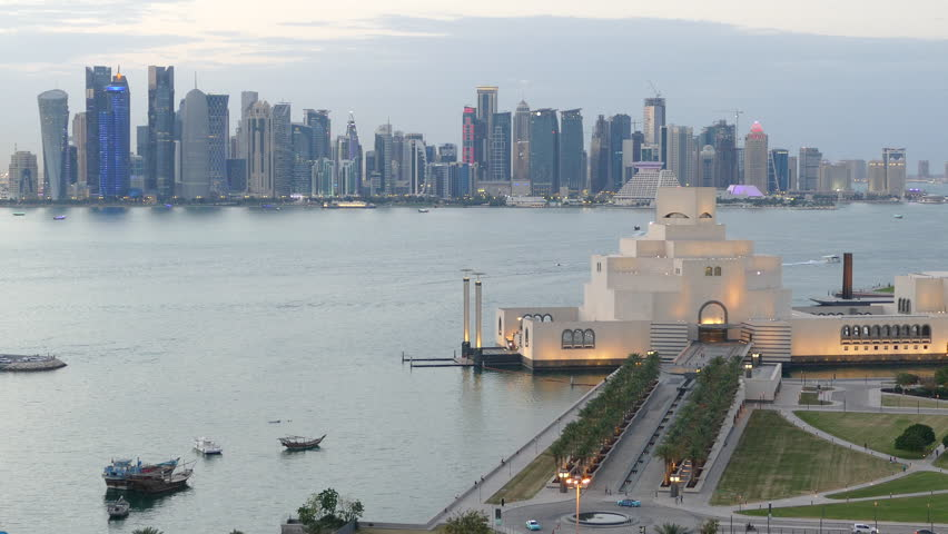 Time lapse from the Museum of Islamic Art on the Corniche in the evening in Doha Qatar | Shutterstock HD Video #16526035