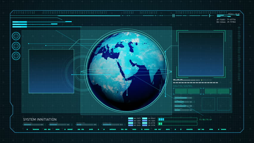 Rotating Earth in Digital display interface. technology graph, computer operation data screen.   Shutterstock HD Video #16542901