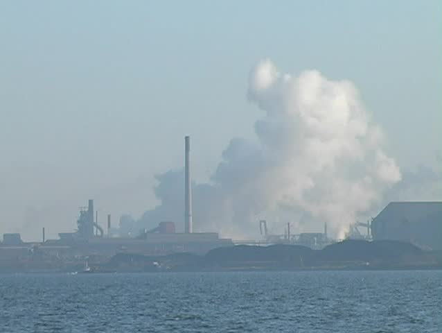 Steel plant on bay - SD stock footage clip