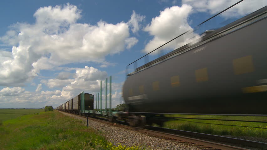end of freight train fast on prairies