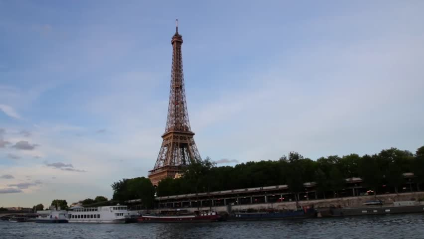 FRANCE, PARIS - JUNE 8, 2015: Famous Eiffel Tower from boat on river | Shutterstock HD Video #16566481