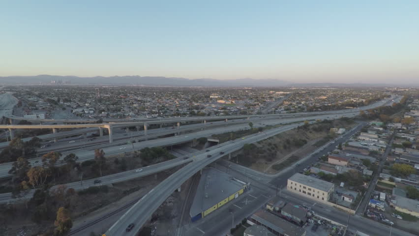 California Highway L.A. 110 105 Freeway Exchange Sunset Aerial 2 | Shutterstock HD Video #16587199
