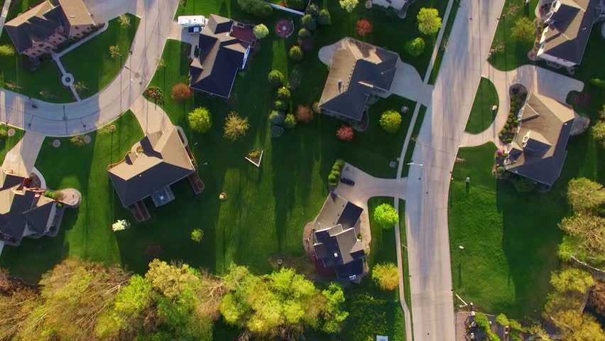 Beautiful, suburban neighborhoods with stunning homes, early morning, aerial view.  | Shutterstock HD Video #16605523