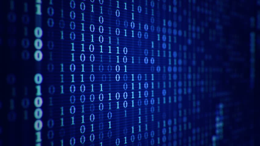 Technologic background with representation of binary code. Binary digits 1 and 0 in different configurations on colorful background. Animation of seamless loop. - HD stock video clip
