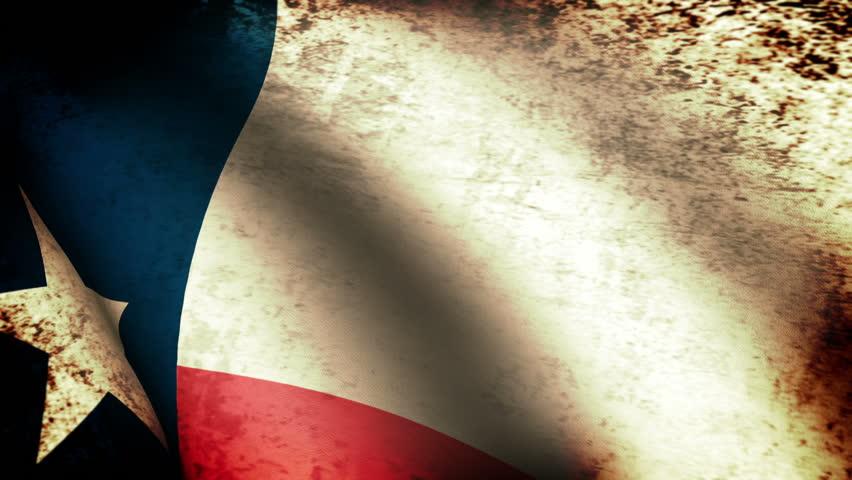 Texas State Flag Waving, grunge look