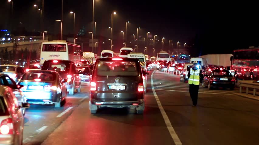 ISTANBUL - FEBRUARY 17: Traffic jam with rows of cars waiting to cross on