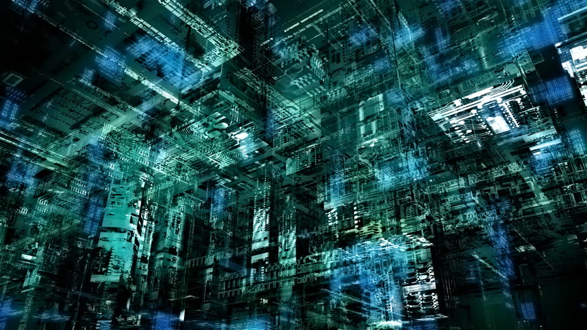 Matrix-kind cyberspace - HD stock footage clip