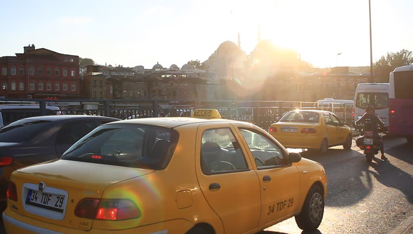 ISTANBUL - SEP 30, 2014: Istanbul traffic jam on the way from Eminonu. People in the city lose 118 hours on average stuck in traffic annually. Istanbul has the second worst congestion in the world