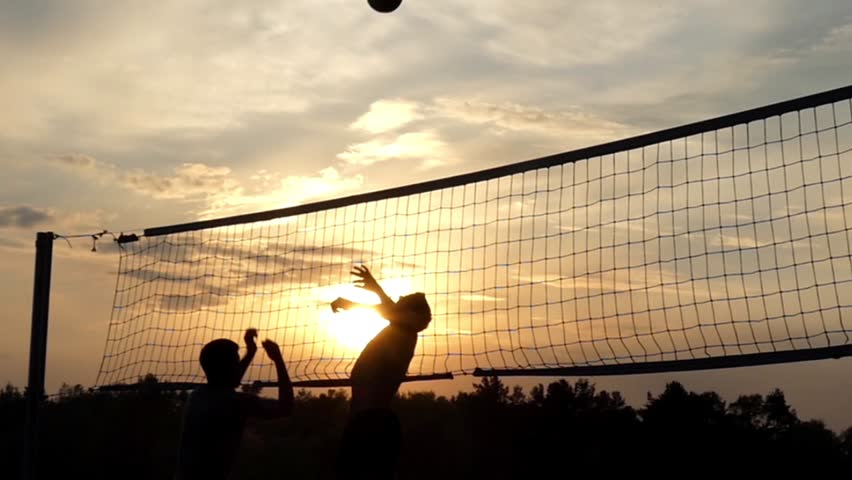 Beach Volley Player Silhouette - Man Royalty Free Stock