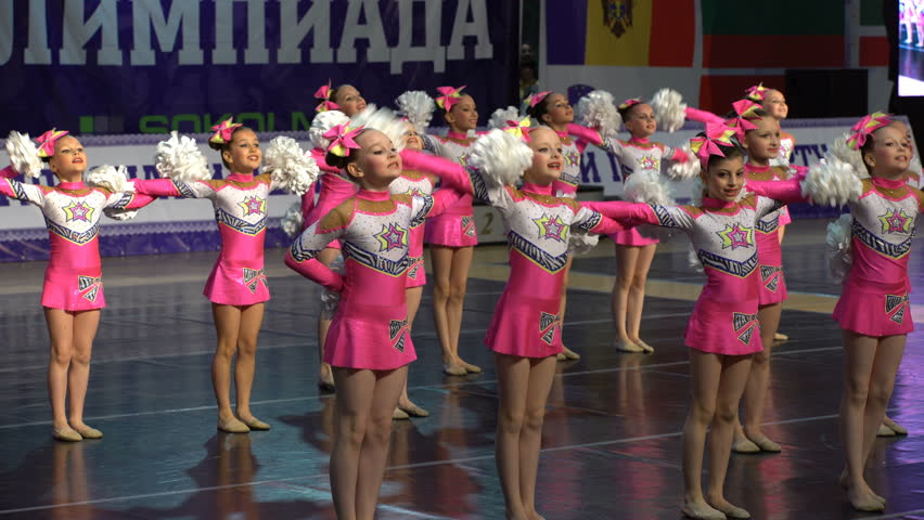 MOSCOW, RUSSIA - MAY 09, 2016: Dancing performance of the cheerleading team. XIII world Dance Olympiad 2016. - 4K stock footage clip