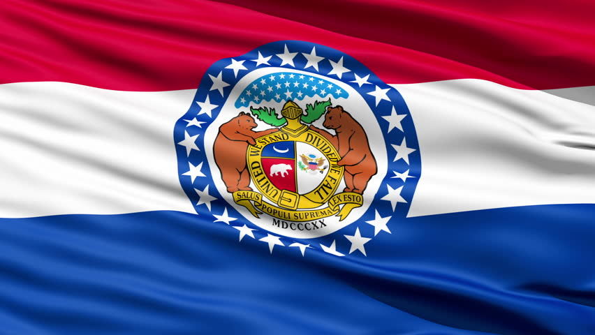 Waving Flag Of The US State of Missouri with the official seal surrounded by a