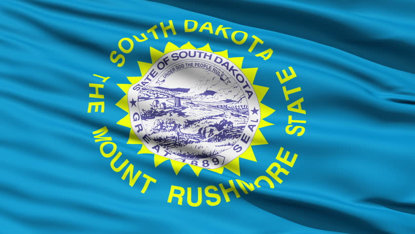 Waving Flag Of US State Of South Dakota with the official seal surrounded by