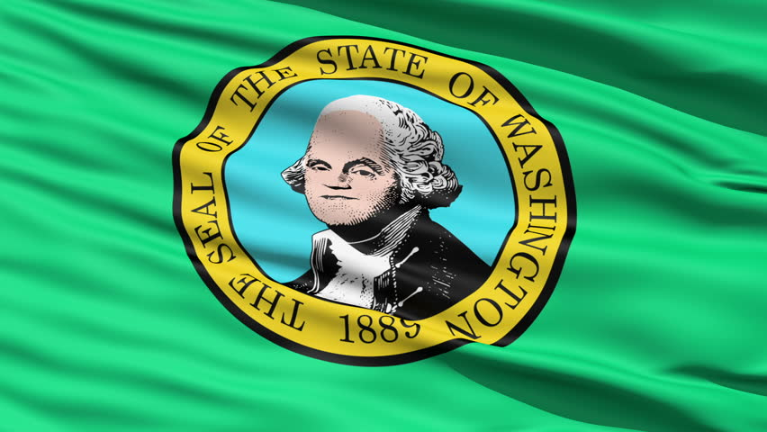 Waving Flag Of StateWaving Flag Of State Of Washington, America, with the