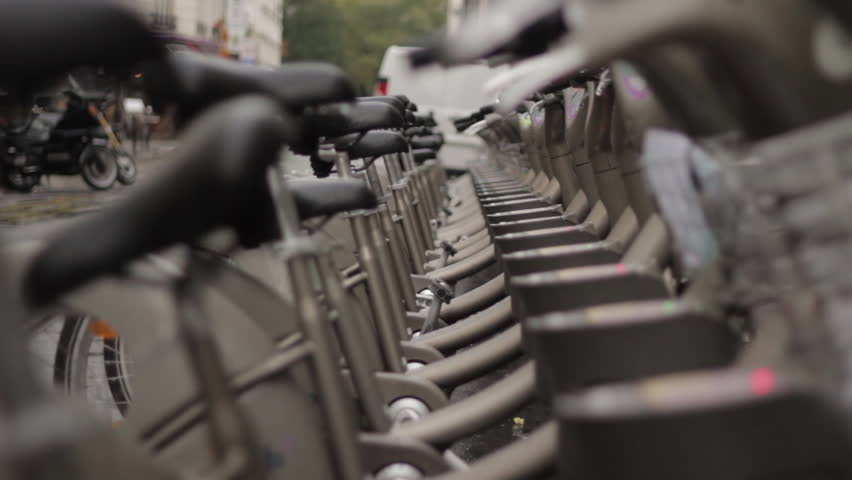 Paris, France - October 10, 2014: Public bicycle rental stand - HD stock video clip