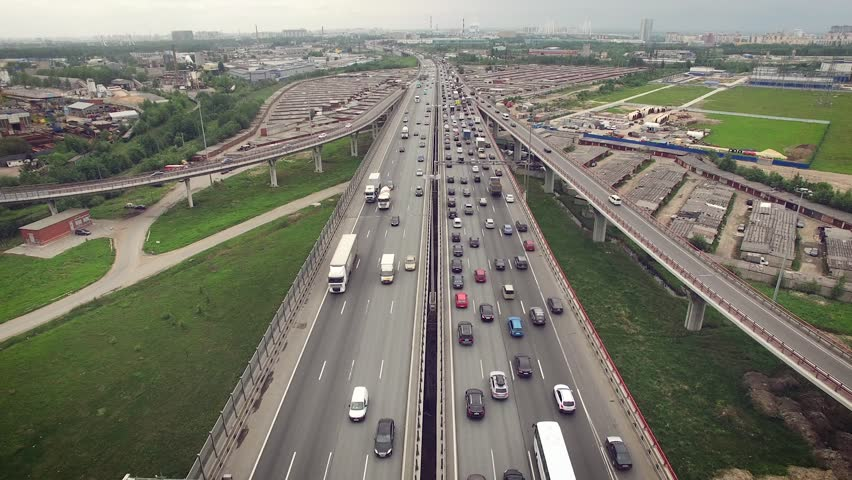 Aerial view of car traffic on highway | Shutterstock HD Video #16887412