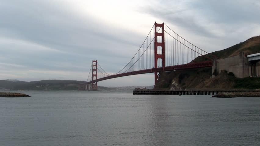 Gentle Waves San Francisco Bay Fort Baker Marin Golden Gate Bridge  - HD stock footage clip